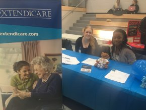 Lolade Adams and Sarah Campagna two co-op students at the Volunteer Fair at St. Clair College