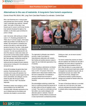 This article is reprinted from RNAO's Best Practices in Long-Term Care Newsletter Winter 2017 edition with permission