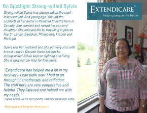 Sylvia Miller, a 76 years old resident in Extendicare Rouge Valley