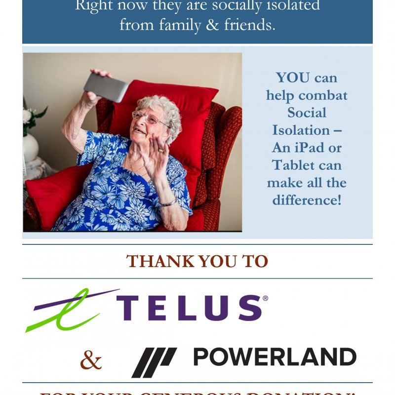 Photo of Thank You to Telus and Powerland for iPad Donations!