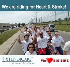 Extendicare Tecumseh and the Regional Nursing Consultant rode the Big Bike and raised over $3,000 towards the Heart&Stroke Foundation.