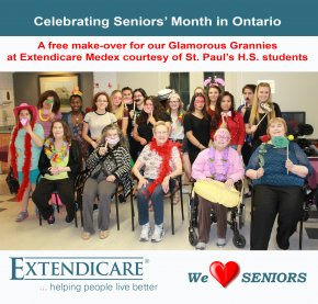 "Our ""Glamorous Grannies"" at Extendicare Medex enjoyed a spa day courtesy of St. Paul's H.S. students."