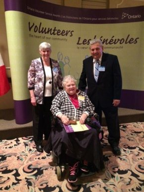 Florence Poole, Lorne and Jean Bell attended the Ontario Service Awards at Tudor Hall.
