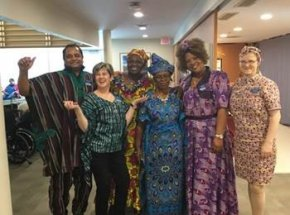 Recreation staff and PSWs dressed in West African & Toronto-African fusion clothing.