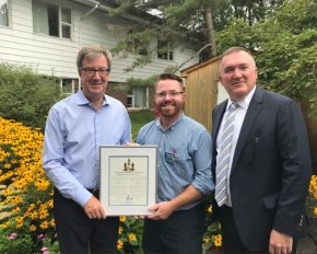 Left to right: Ottawa Mayor Jim Watson, Clayton Donnelly, Administrator of Extendicare New Orchard Lodge and Tim Lukenda Extendicare's CEO